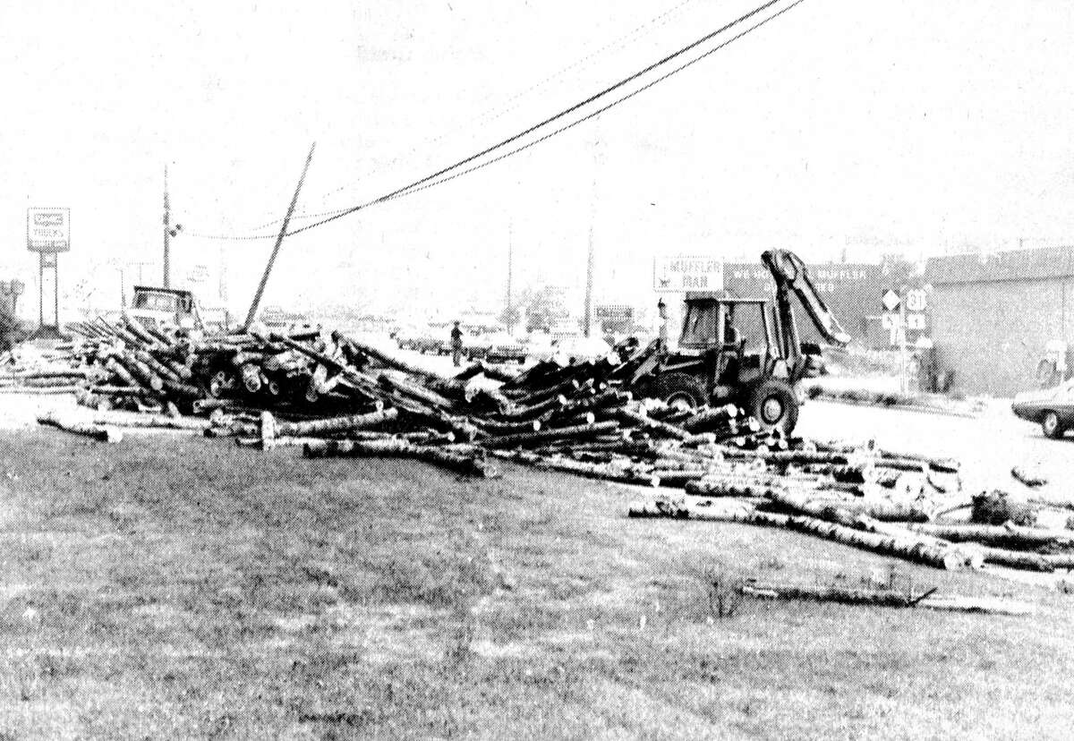 An unsecured load of logs made a mess on U.S. 31 near the intersection of M-110. The photo was published in the News Advocate on July 13, 1981. (Manistee County Historical Museum photo)