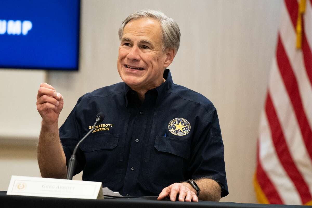 WESLACO, TEXAS - JUNE 30: Texas Gov. Greg Abbott speaks during a border security briefing on June 30, 2021 in Weslaco, Texas. Gov. Abbott has pledged to build a state-funded border wall between Texas and Mexico as a surge of mostly Central American immigrants crossing into the United States has challenged U.S. immigration agencies. So far in 2021, U.S. Border Patrol agents have apprehended more than 900,000 immigrants crossing into the United States on the southern border. (Photo by Brandon Bell/Getty Images)