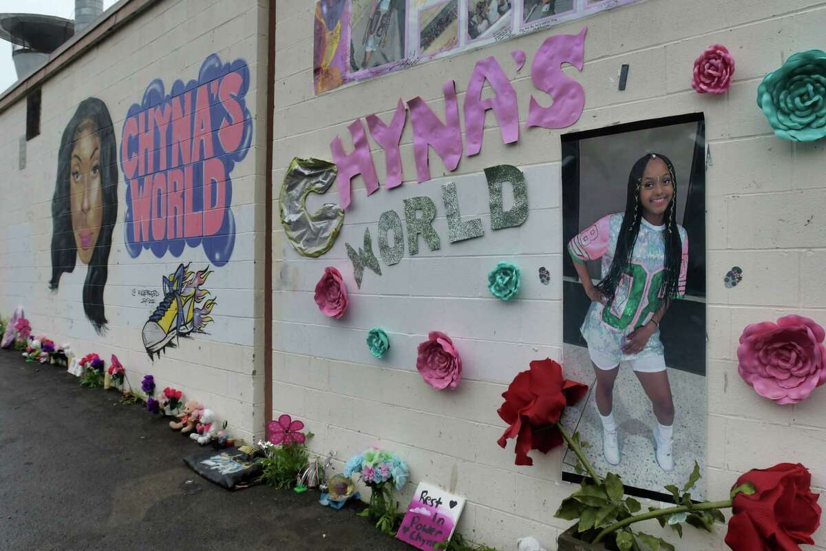A view of a mural painted on the side of a building on Essex St., to honor Chyna Forney, an 18-year-old Albany student who was shot and killed in May, seen here on Monday, July 12, 2021, in Albany, N.Y. The two men charged in her killing were charged with another shooting from March 2021. (Paul Buckowski/Times Union)