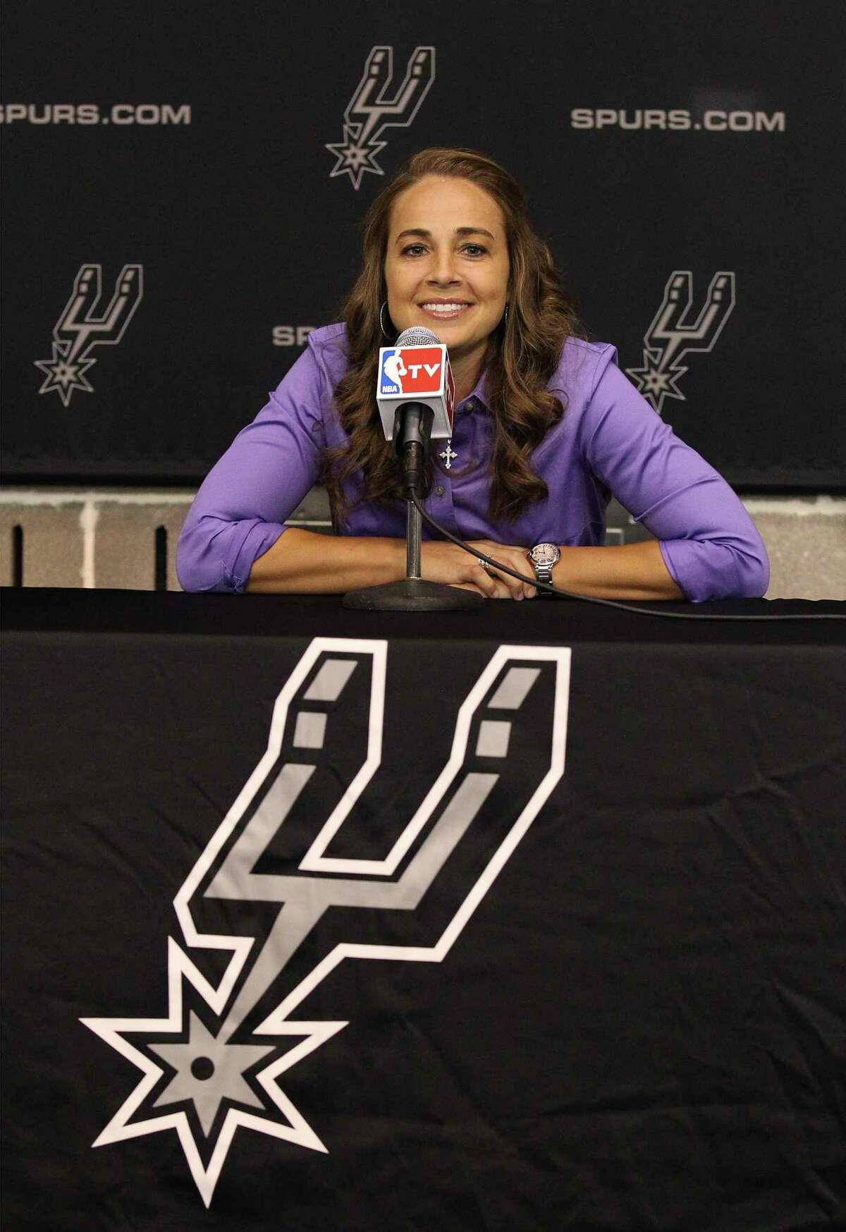 When Becky Hammon, pictured here in 2014, makes history and breaks more barriers - she will have earned it- just as she has throughout her time on the court as a player and a coach.