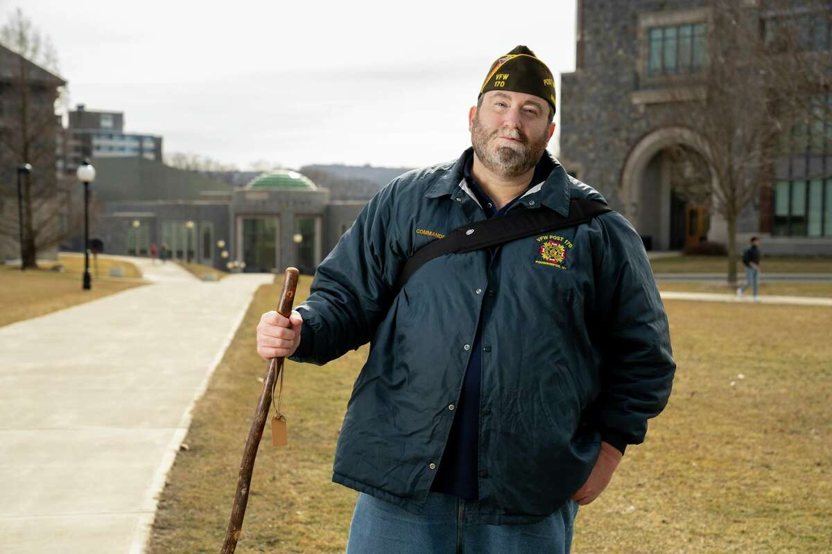 """After 131 days of walking solo across the country to raise awareness of homelessness among veterans, Tommy Zurhellen arrived at Marist College in Poughkeepsie where he teaches. It took time to acclimate from the isolation to being among his students, colleagues and friends again. """"I was only a homeless veteran for four or five months, imagine somebody doing it for years and the challenges that they face,"""" Zurhellen said."""