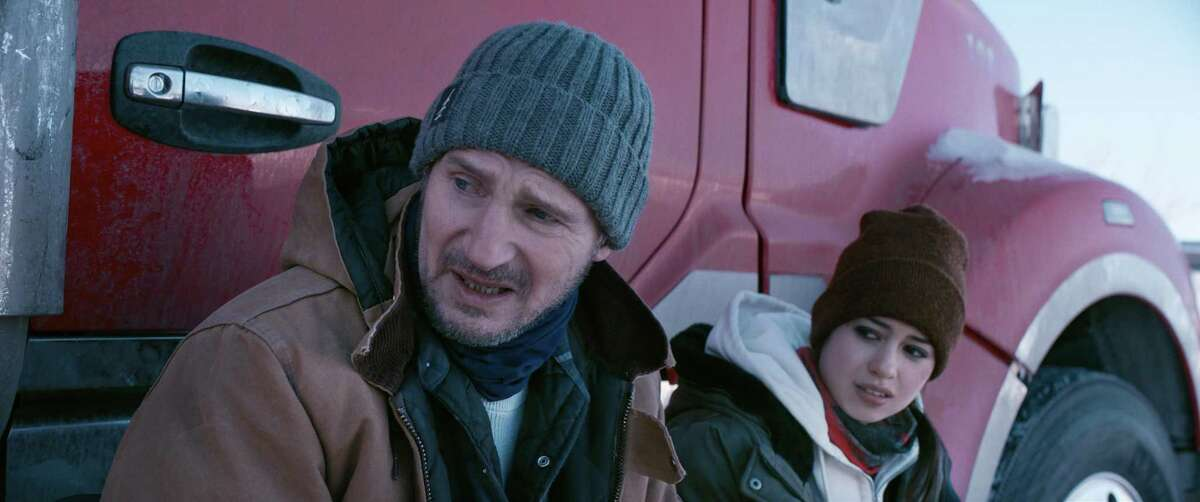 """Liam Neeson and Amber Midthunder in """"The Ice Road."""" (Netflix/TNS)"""