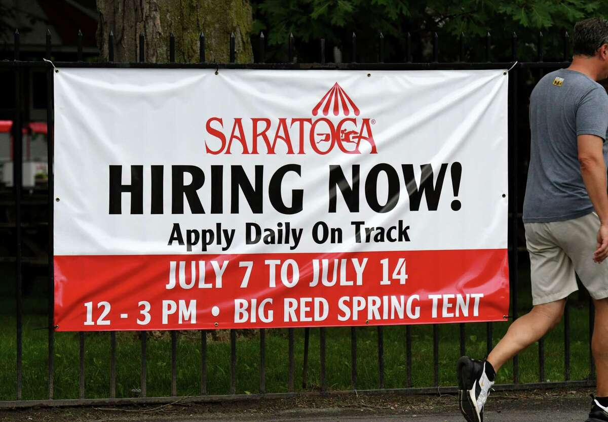 A help wanted sign is posted outside Saratoga Race Course just days away from the season opener on Monday, July 12, 2021, in Saratoga Springs, N.Y. NYRA is still looking to fill a number of jobs at concessions and betting booths. (Will Waldron/Times Union)