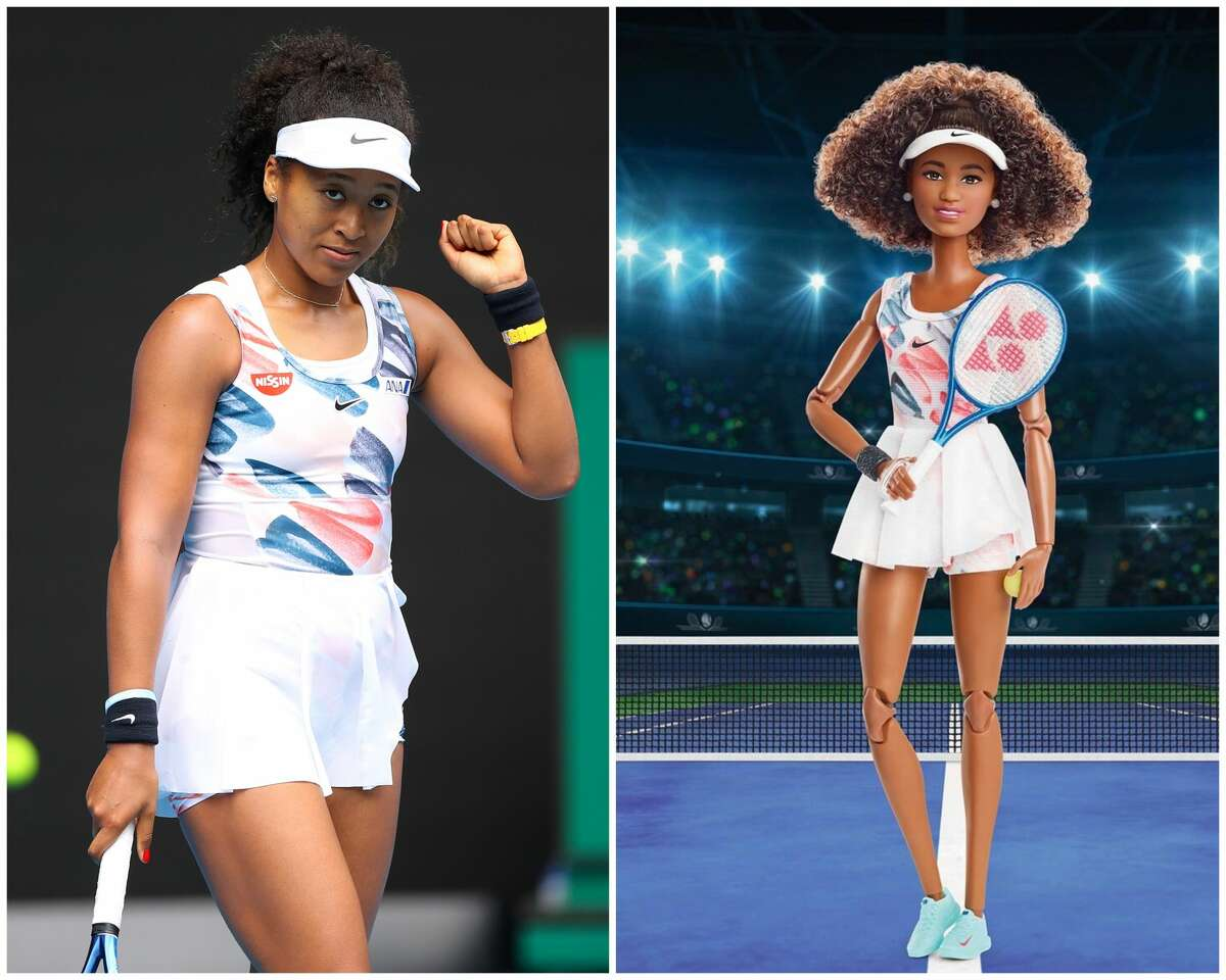 The Naomi Osaka Barbie doll, which was launched in time for the 2021 Olympics in Tokyo, wears a Nike tennis dress with brushstroke print, inspired by a look she sported at the Australian Open in 2020.