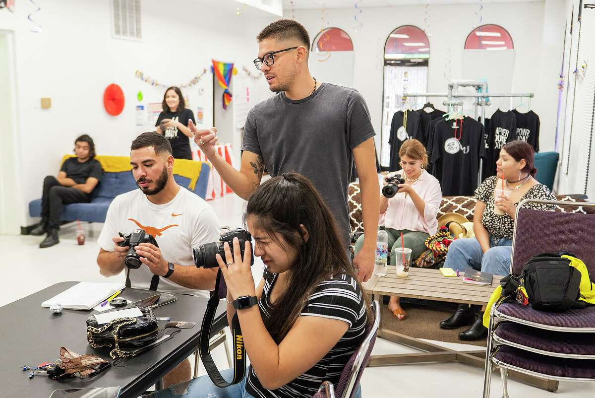 Photographer Rolando Sanchez gives an entry-level photography workshop at the Laredo Film Society office on Saturday, July 10, 2021.
