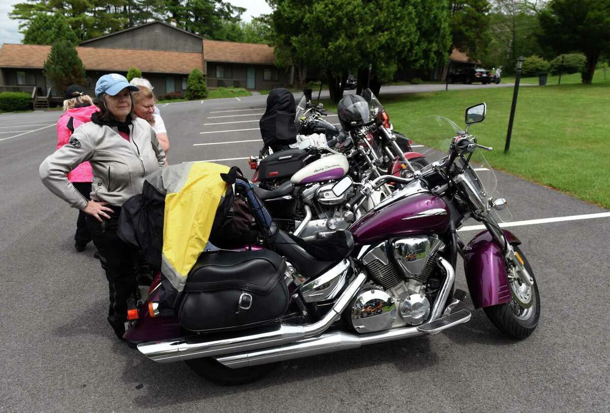 Riders from southeast Pennsylvania arrive for the 35th annual international Women on Wheels Ride-In on Monday, July 12, 2021, at Roaring Brook Ranch in Lake George, N.Y. (Will Waldron/Times Union)