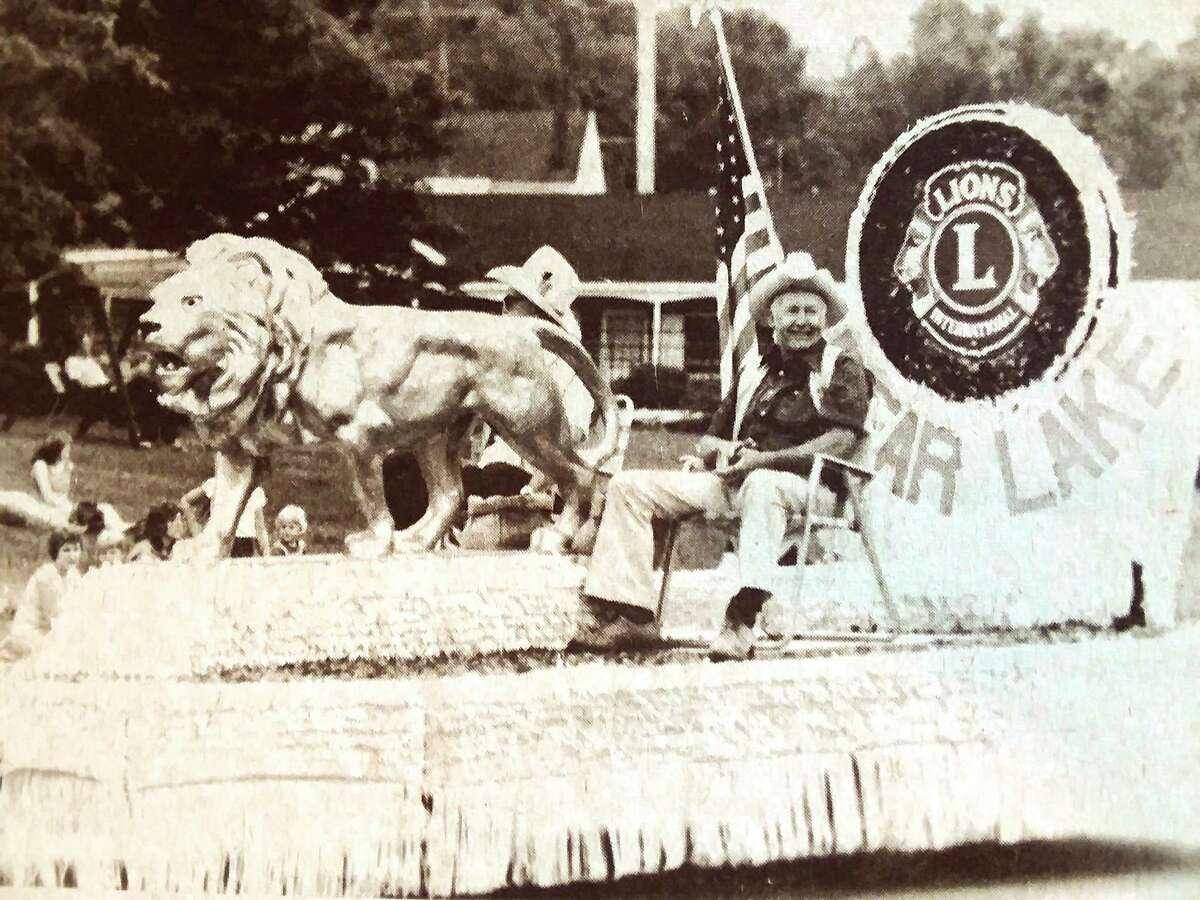 The Bear Lake Lions Club float was one of the features in the grand parade Saturday night during the annual Bear Lake Days festival in the village. A pancake breakfast yesterday morning, a flea market and many other activities highlighted the three-day celebration. The photo was published in the News Advocate on July 14, 1981. (Manistee County Historical Museum photo)