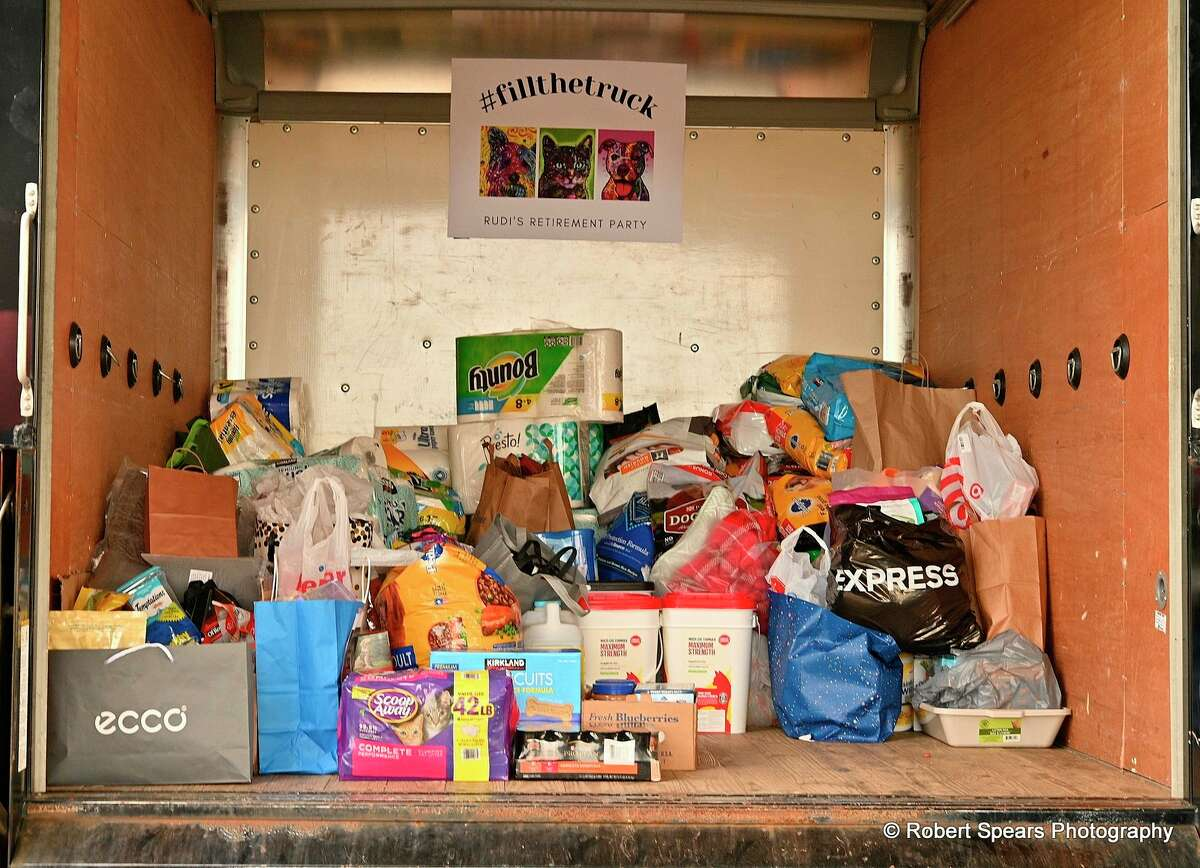 Midland Country Club members and employees organized a collection of needed items for the Humane Society in honor of Rudi Hahn, who recently retired after 17 years of service to the MCC. (Robert Spears Photography)