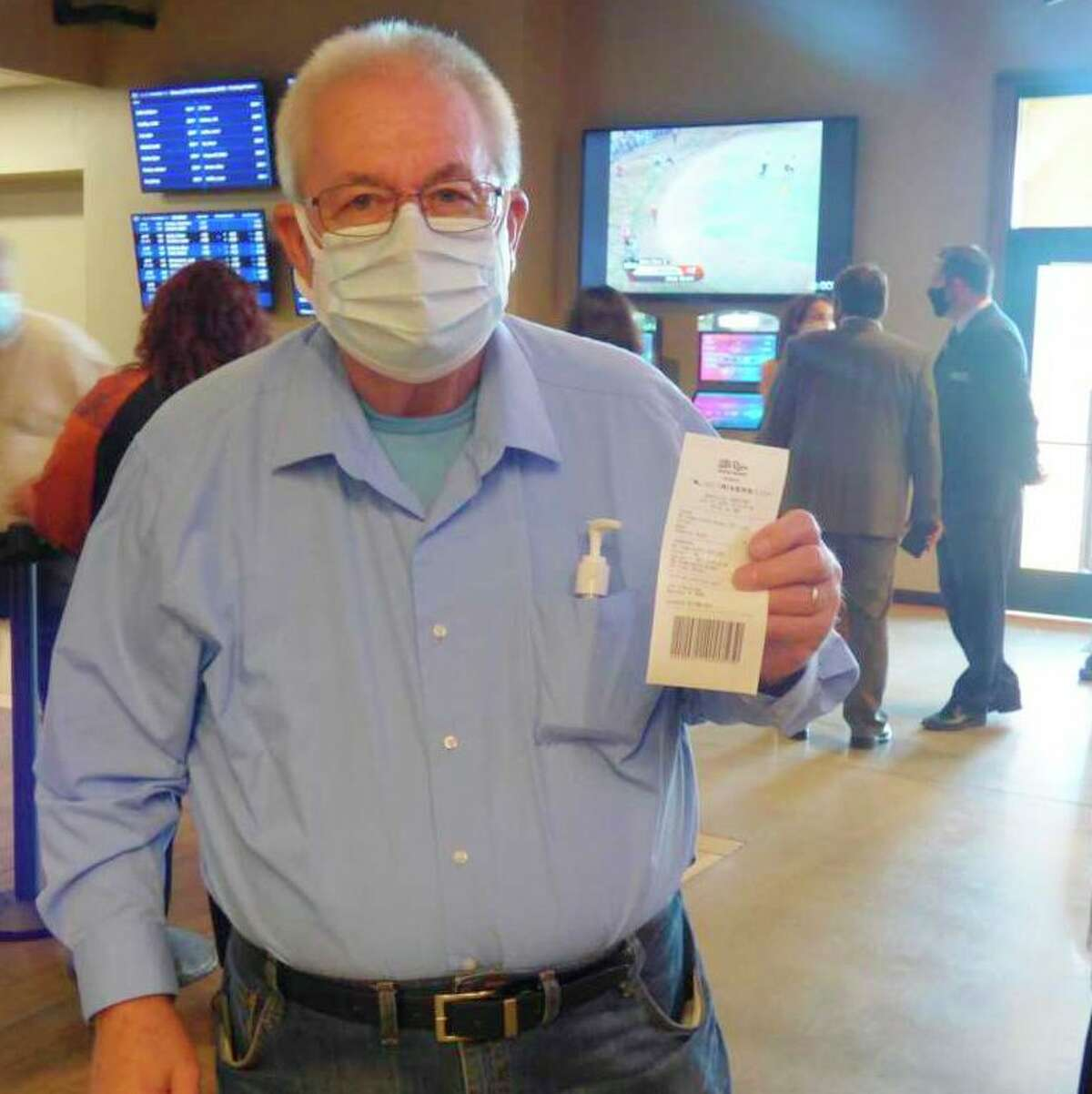 Manistee mayor Roger Zielinski placed the inaugural wager at a ribbon-cutting ceremonyin July 2020 for the Little River Casino Resort's new sports betting program. (File photo)