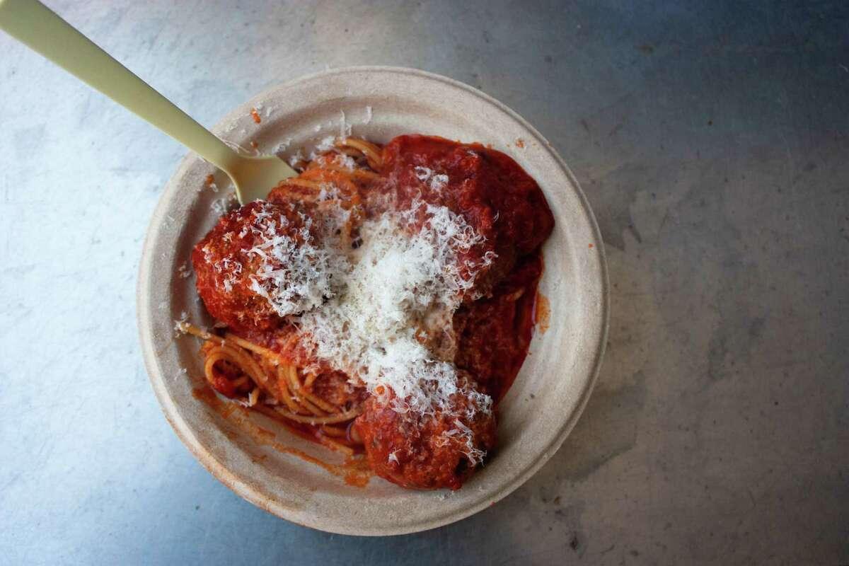 Spaghetti pomodoro with meatballs from Sfizio, Matt Solimano's pasta pop-up at Way Station Brew in Berkeley.