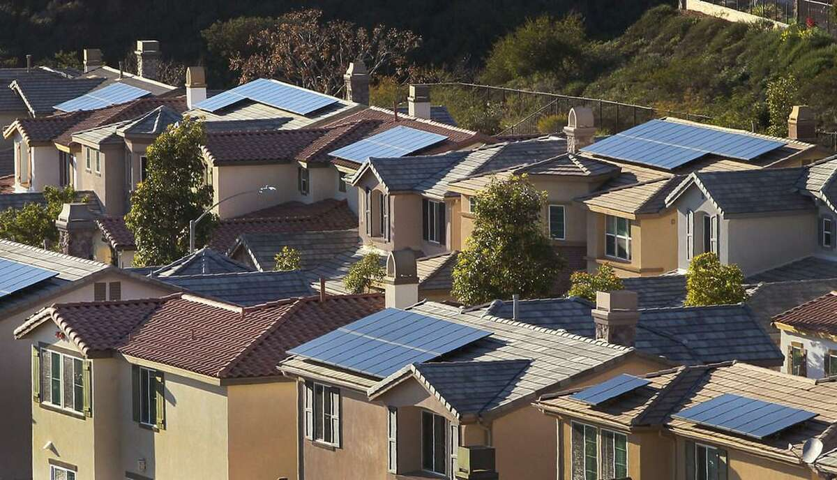 Solar panels line many rooftops in this neighborhood in San Elijo Hills. Renewable electricity generation has doubled across the nation since 2008, according to the U.S. Energy Information Administration.