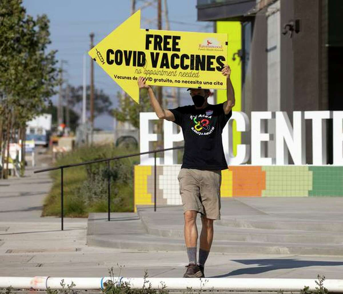 Coronavirus vaccinations being promoted in East Palo Alto last week.