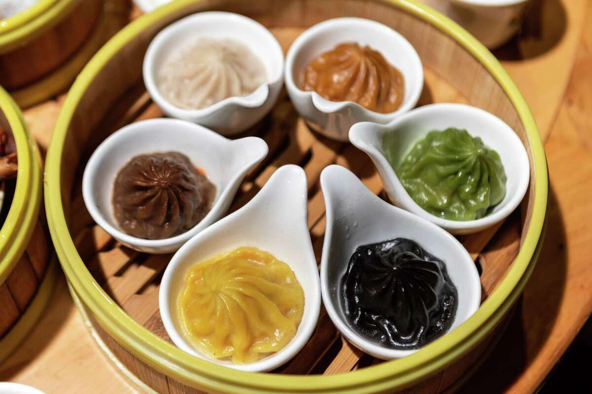 Koi Palace's colorful xiao long bao, a signature of the family's dim sum restaurants.