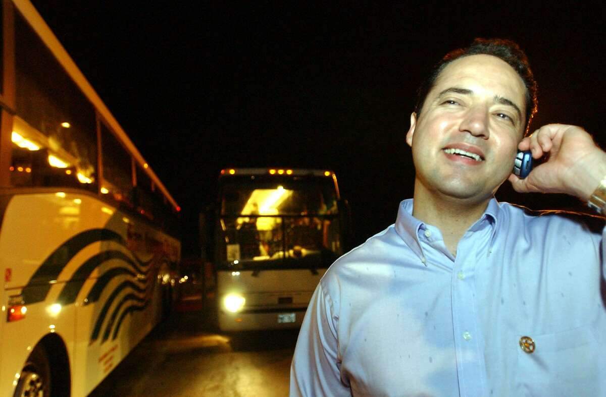 """INSIDE TEXAS STATE LINE Jose Menendez calls his wife from a rest stop just inside the Texas state line Thursday night, May 15, 2003. Menendez told his wife he was calling her """"from the great state of Texas."""""""
