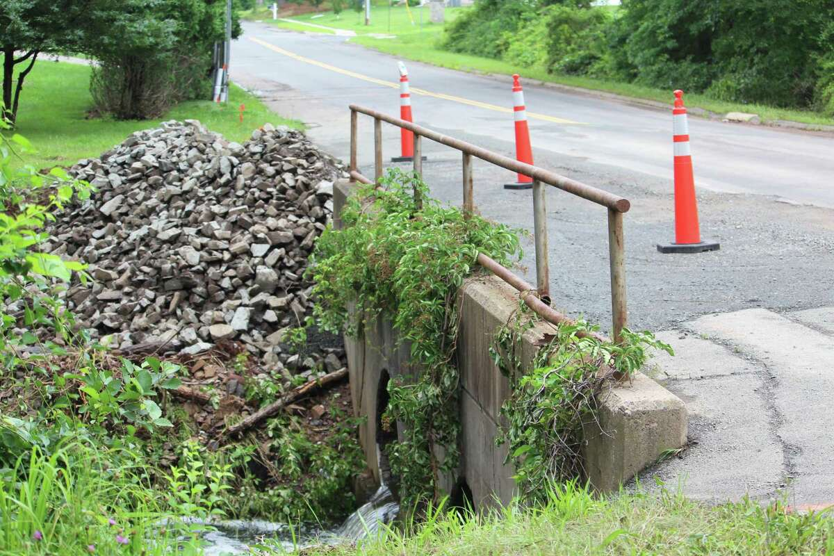 The road/bridge on Mile Lane between Ridgewood Road and Talia's Trail in Middletown was washed out by Friday's heavy rains from Tropical Storm Elsa.
