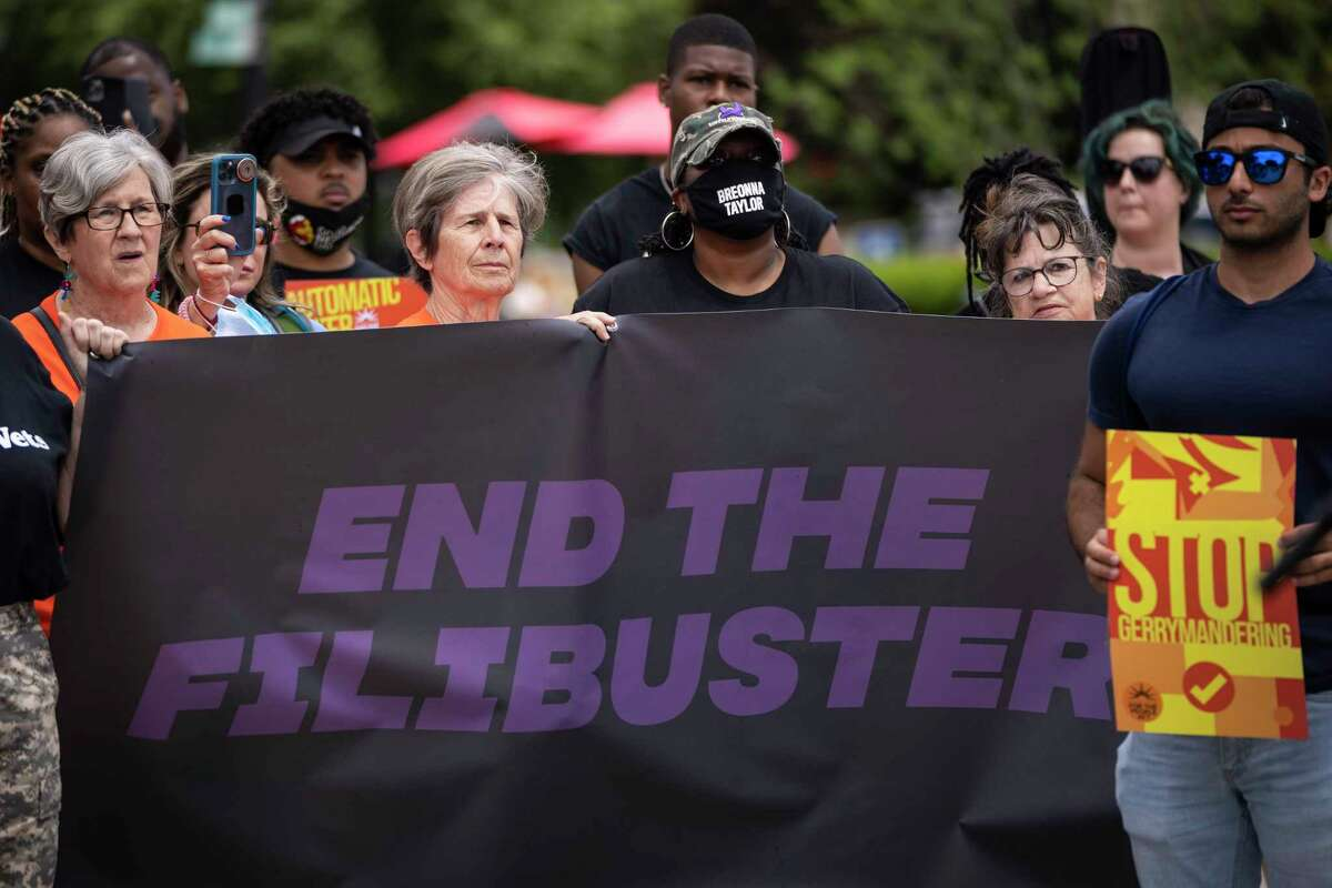 Activists rally against the legislative filibuster outside of the Supreme Court in Washington, D.C., last month.
