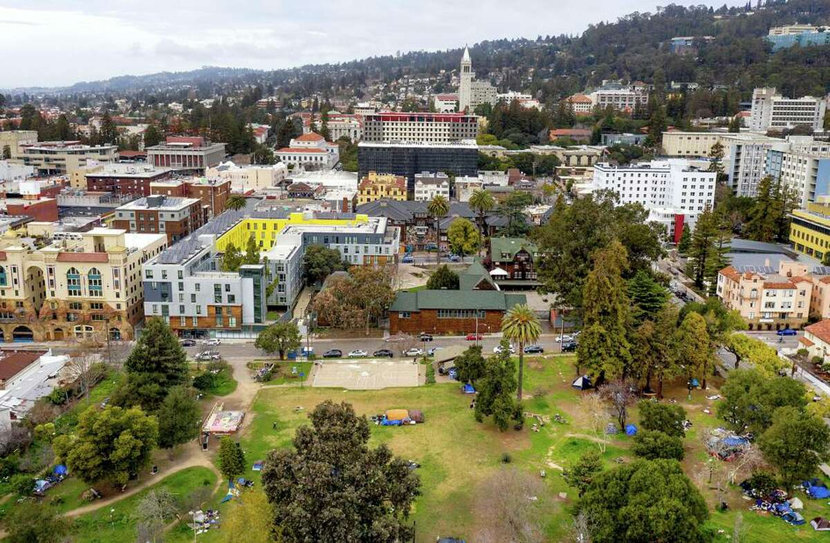The UC Berkeley campus, with People's Park in the foreground, is the subject of a lawsuit that questions the impact of the university on the city of Berkeley.
