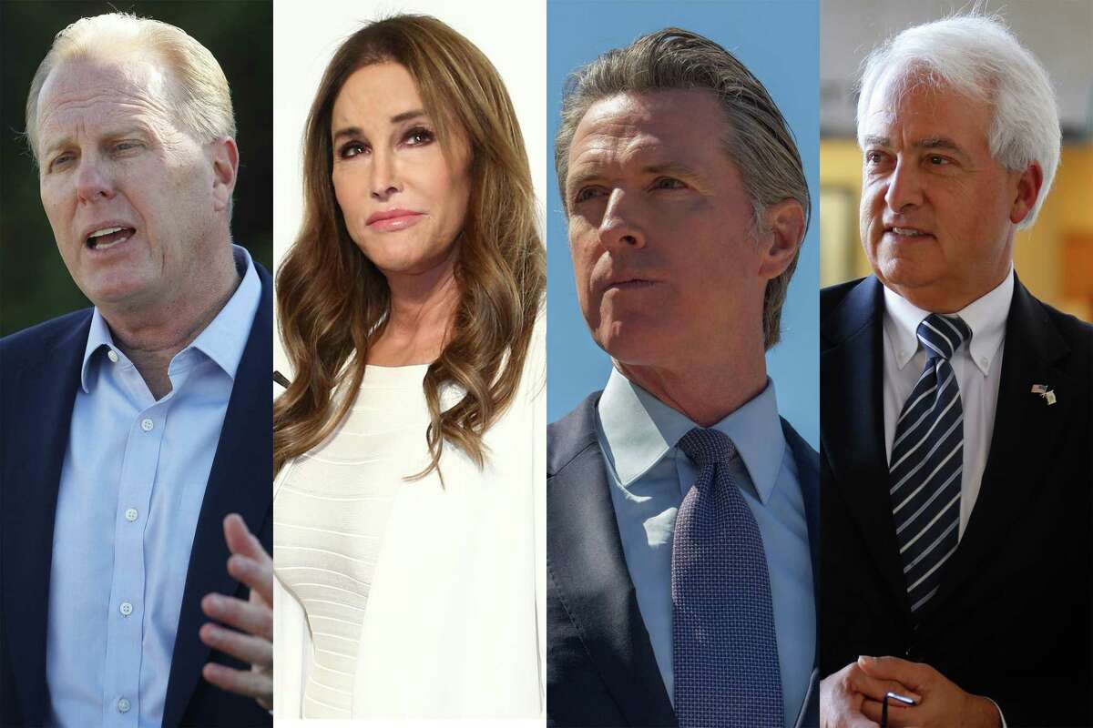 From left to right: Kevin Faulconer, Caitlyn Jenner, Gavin Newsom, John H. Cox