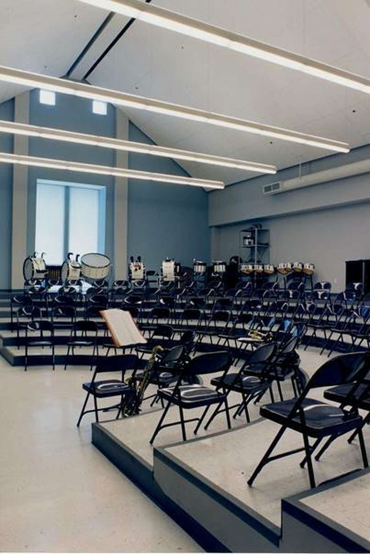 The band room as it was first built, with the semicircle of steps in the center of the room.