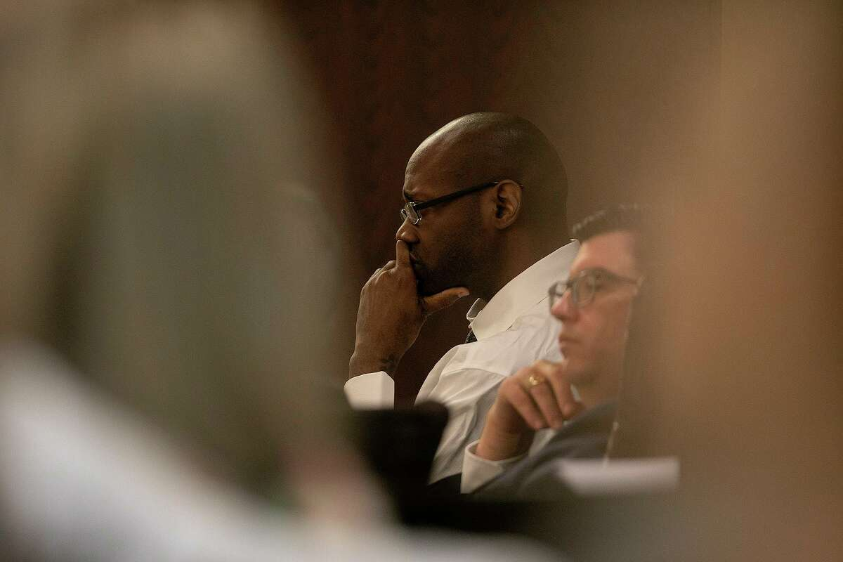 Defendant Otis McKane watches proceedings during the first day of his capital murder trial Monday, July 12, 2021, at the Cadena-Reeves Justice Center in San Antonio. McKane is accused of killing San Antonio police Detective Benjamin Marconi in front of Public Safety Headquarters in 2016.