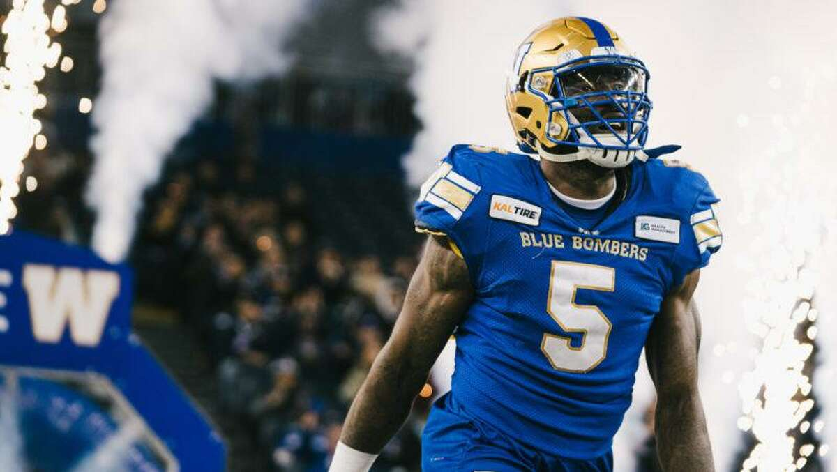 Winnipeg Blue Bombers defensive end Willie Jefferson, pictured during a game in 2019, is finally preparing to get back on the field after the last CFL season was canceled by the coronavirus pandemic.