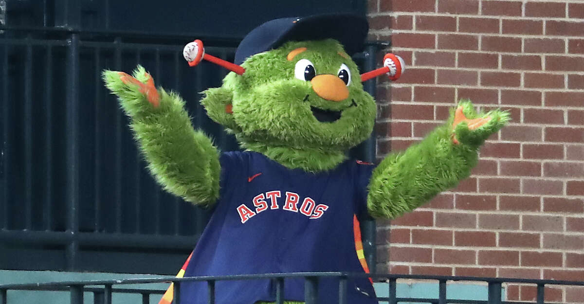 Houston Astros mascot Orbit is introduced as he celebrates his birthday before a major league baseball game against the San Diego Padres Sunday, May 30, 2021, at Minute Maid Park in Houston.