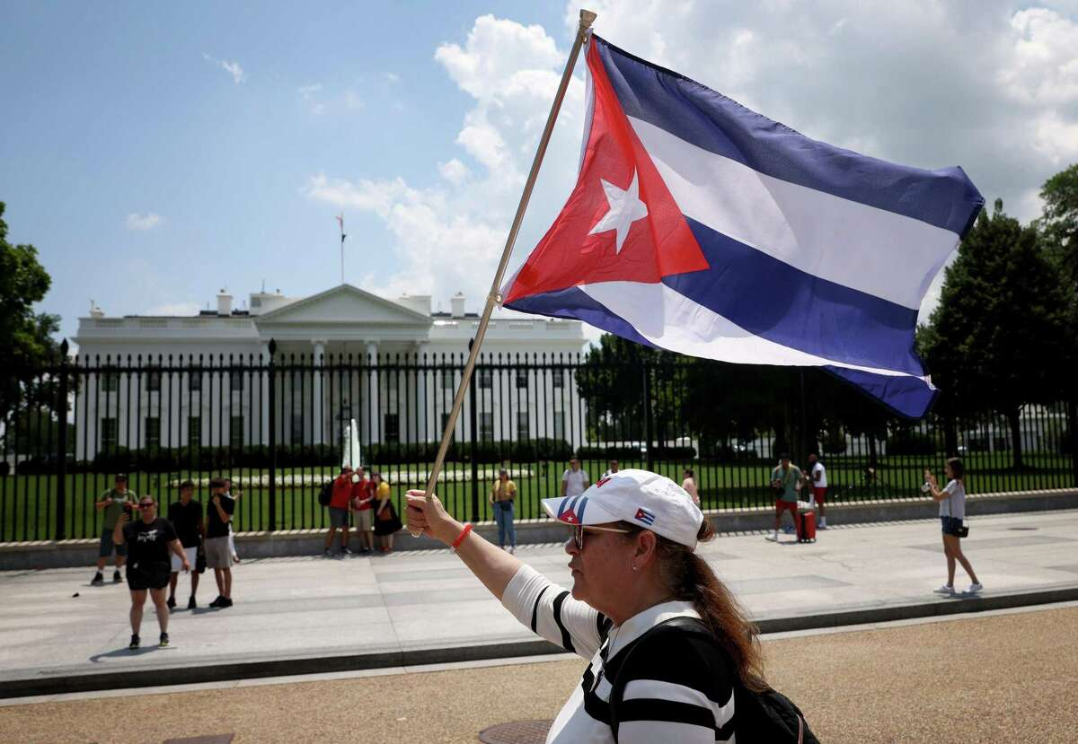 WASHINGTON, DC - JULY 13: Cuban Americans demonstrate outside the White House in support of demonstrations taking place in Cuba on July 12, 2021 in Washington, DC. Thousands of Cubans demonstrated over the weekend in the largest protest in that country in decades, frustrated by food shortages, a struggling economy, and the national response to the COVID-19 pandemic. (Photo by Win McNamee/Getty Images)