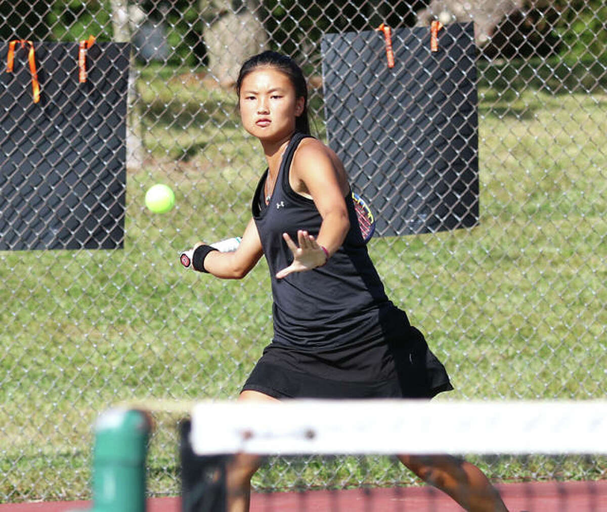 Edwardsville sophomore Chloe Koons returns a shot during the Southern Illinois Duals on Sept. 25 at Edwardsville. Koons is the 2020 Telegraph Girls Tennis Player of the Year.