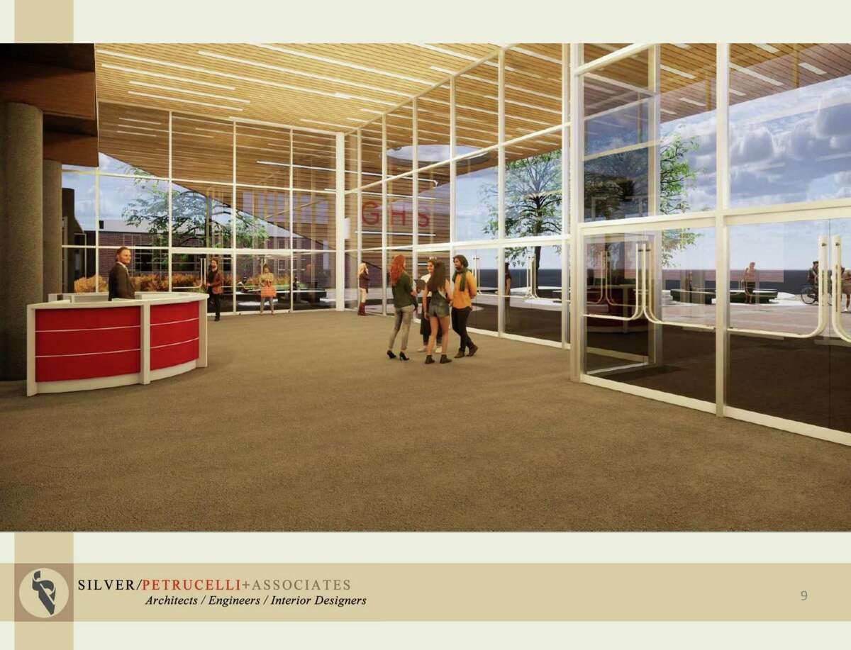 The new main entrance to Greenwich High School, designed by Silver/Petrucelli+Associates, would offer an expanded vestibule for visitors to sign in that separates visitors from the flow of students and teachers crossing campus.