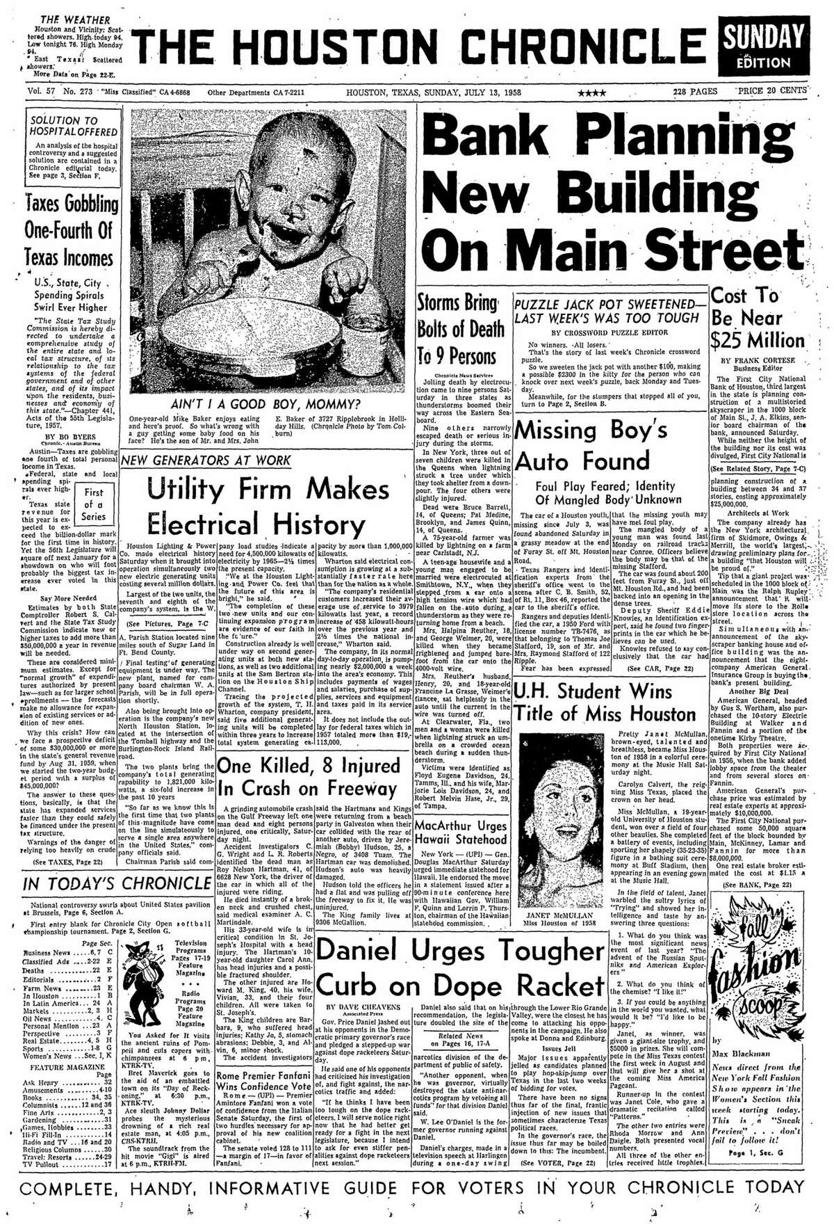 Houston Chronicle front page from July 13, 1958.