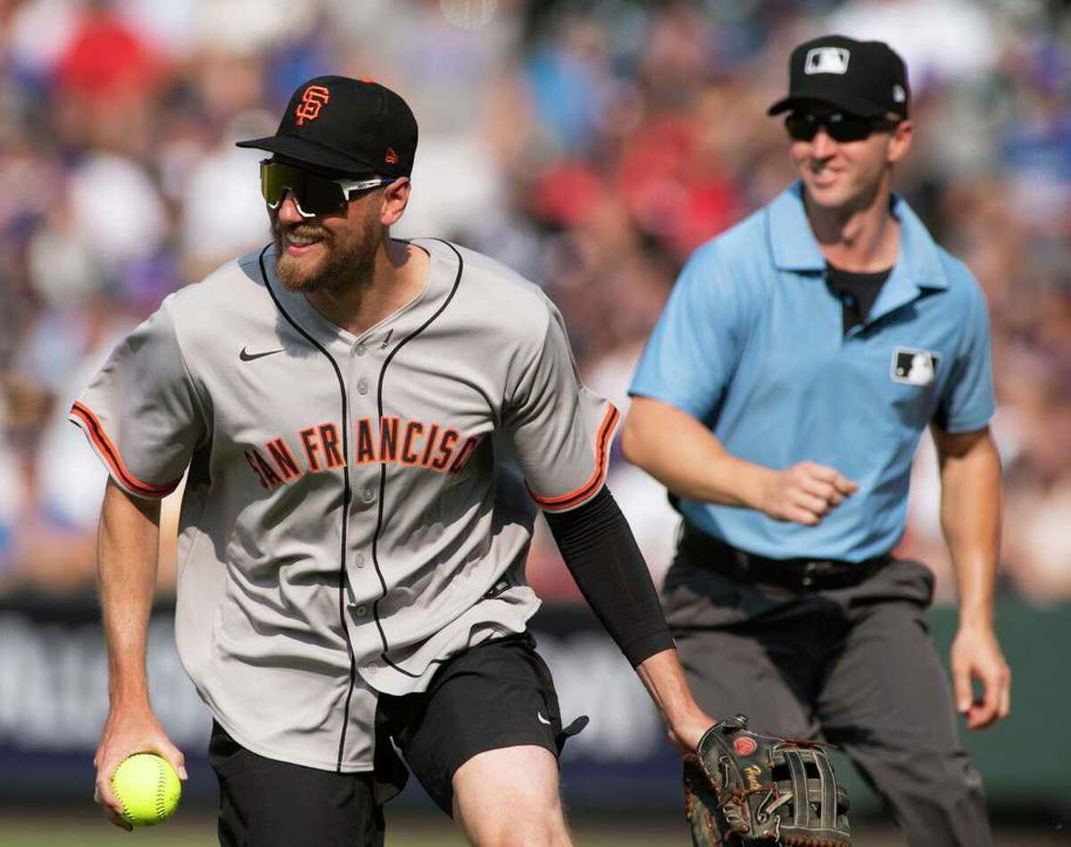 Former Giant Hunter Pence played at shortstop during the celebrity softball game and got some boos from the crowd.