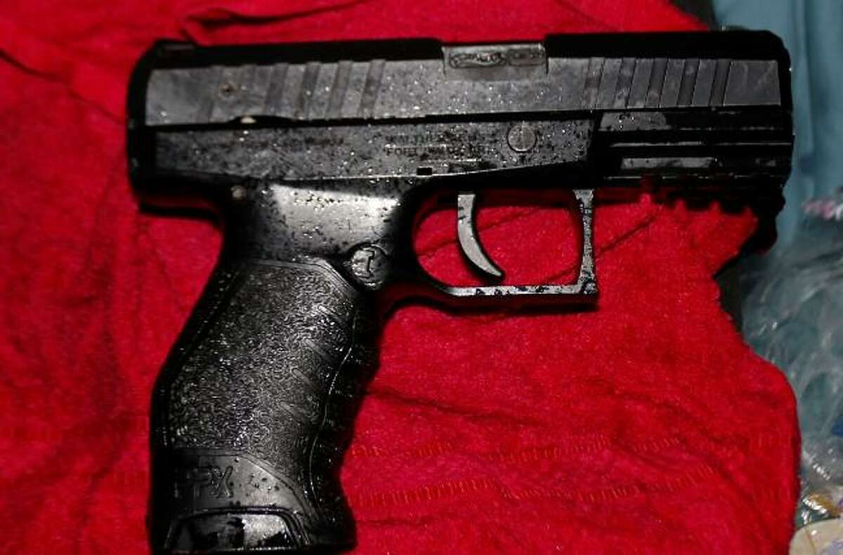 A gun seized from a vehicle in Waterbury, Conn., on July 11, 2021.