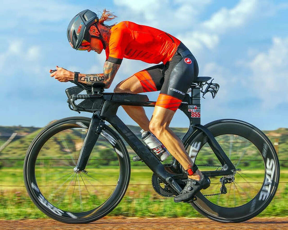 Edwardsville graduate Dane Shaw during the bike portion of Ironman 70.3 Lubbock in 2019.