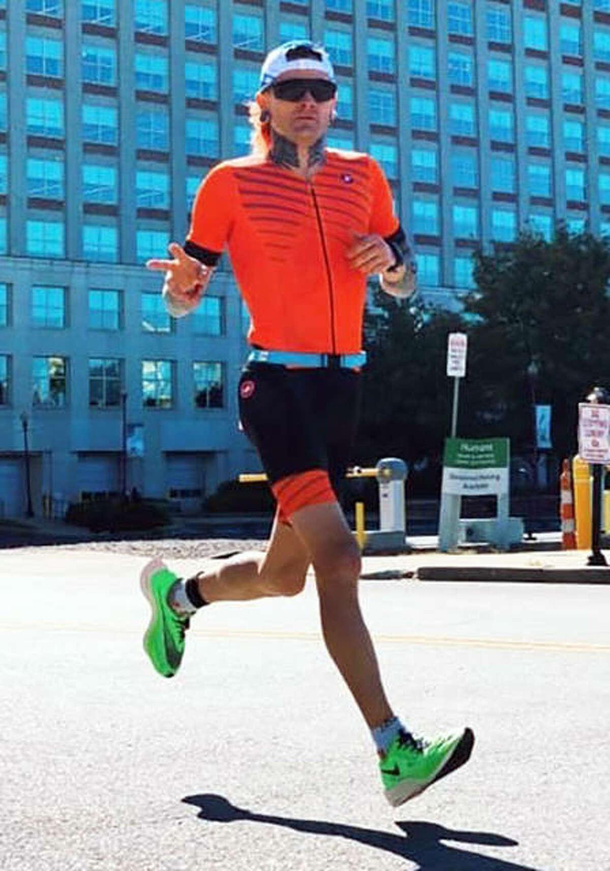 Edwardsville graduate Dane Shaw at the start of the marathon at Ironman Louisville 2019.