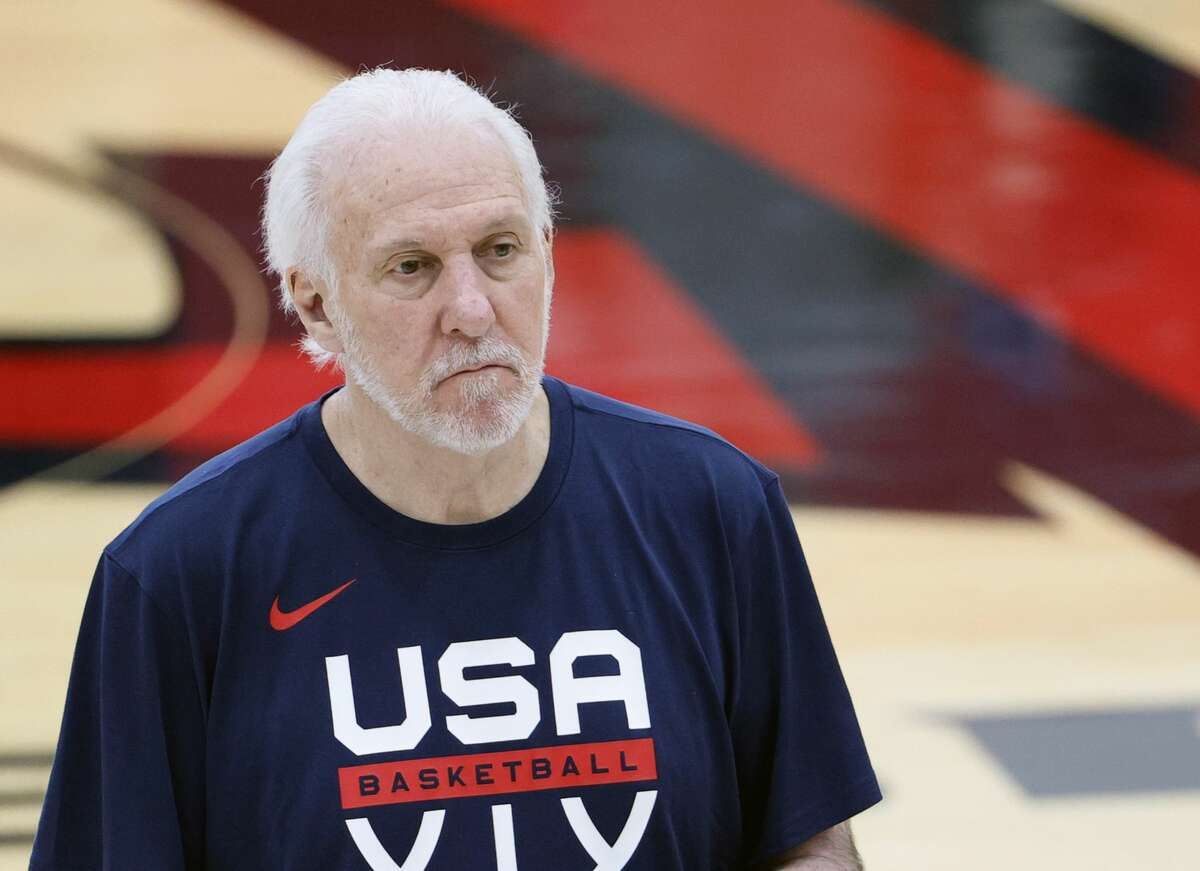 LAS VEGAS, NEVADA - JULY 07: Head coach Gregg Popovich of the 2021 USA Basketball Men's National Team attends a practice at the Mendenhall Center at UNLV as the team gets ready for the Tokyo Olympics on July 7, 2021 in Las Vegas, Nevada. (Photo by Ethan Miller/Getty Images)