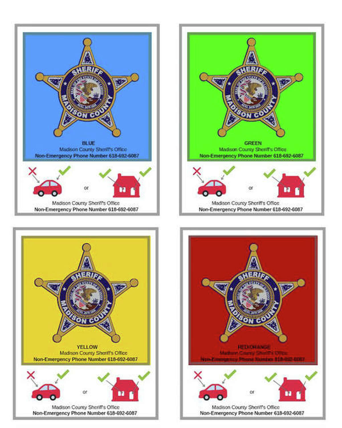 These are among the color-coded PIN (Potentially Impaired or Non-Verbal Person) Stickers available at the Madison County Sheriff's Office. The stickers are designed to alleviate potential communication issues between first responders and the people they serve.