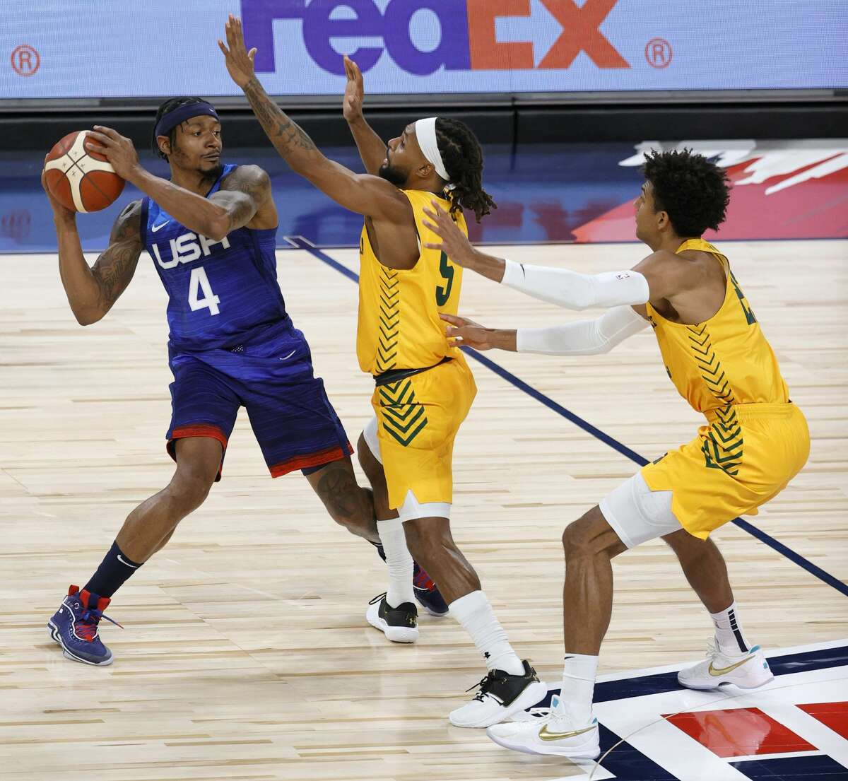 Patty Mills went up against Team USA, led by his NBA coach Gregg Popovich, in Las Vegas in a precursor game to the Tokyo Olympics. The Australians beat Team USA 91-83, handing them them a back-to-back loss. Team USA also lost to Nigeria in a rare 90-87 loss on Saturday.