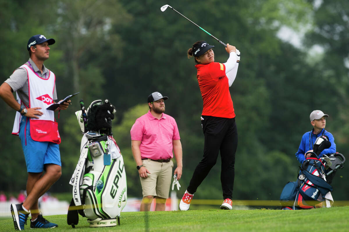 LPGA player Wichanee Meechai plays the 15th hole during the Dow Great Lakes Bay Invitational Pro Am tournament Tuesday, July 13, 2021 at the Midland Country Club. (Katy Kildee/kkildee@mdn.net)