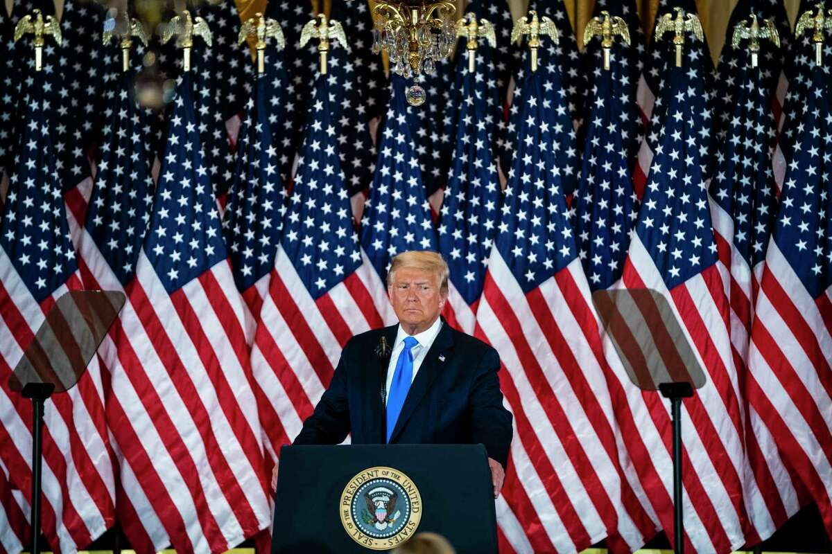 President Donald Trump speaks in the East Room of the White House early on the morning after Election Day in 2020.