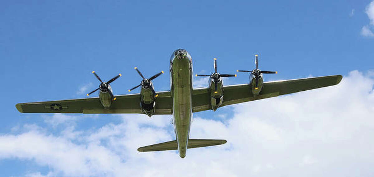 Doc, one of only two Boeing B-29 Superfortresses still flying today, takes off from St. Louis Regional Airport in Bethalto Monday evening after a two-hour stop to avoid bad weather and to refuel. Some 1,644 B-29s were made in Witchita, Kansas, during WWII. The B-29 played an epic role in bringing the war to a close.