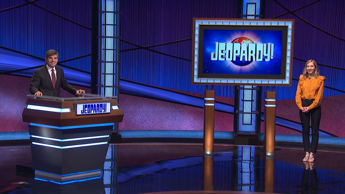 """Lauren Fisk, a teacher originally from San Antonio, competed on """"Jeopardy!"""" with George Stephanopoulosas the host."""