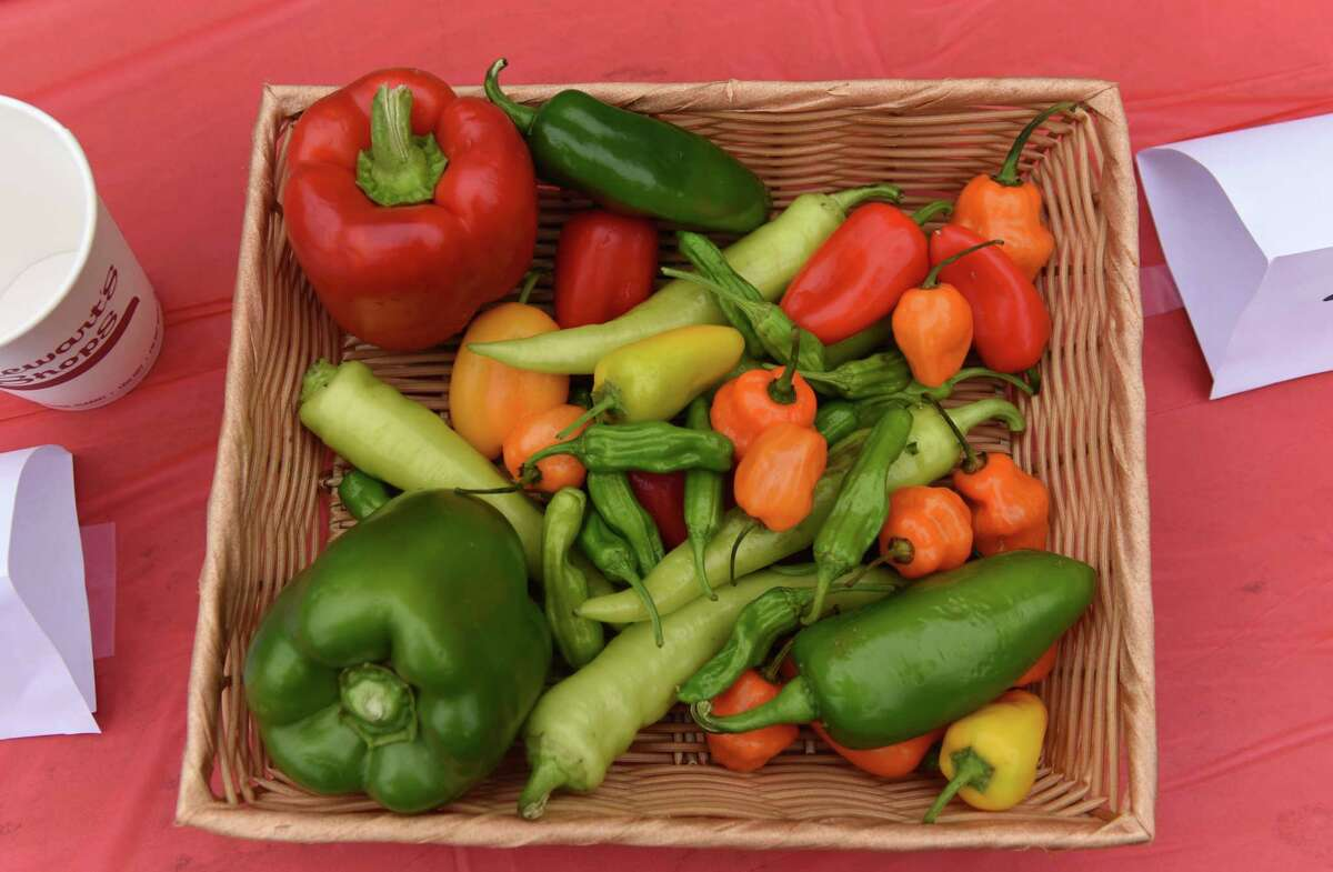 An assortment of peppers are offered to participants in the Capital Roots Hot Pepper Challenge to raise awareness of healthy food access in communities on Tuesday, July 13, 2021, at Capital Roots Urban Grow Center in Troy, N.Y. (Will Waldron/Times Union)
