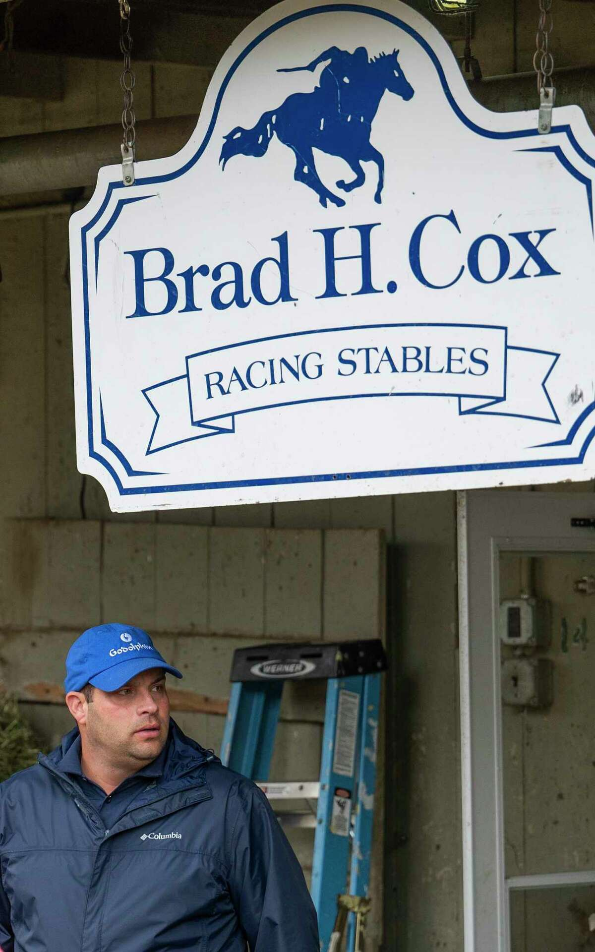 Trainer Brad Cox in the barn area of the Oklahoma Training Center adjacent to the Saratoga Race Course Monday July 13, 2021 in Saratoga Springs, N.Y. . Photo Special to the Times Union by Skip Dickstein