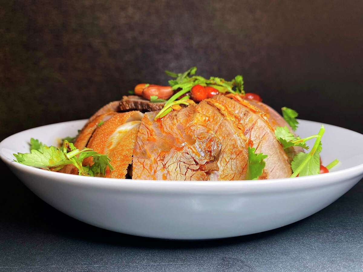 A spicy dish of beef shank and tripe is called Mr. & Mrs. Jones at Dashi Sichuan Kitchen + Bar.