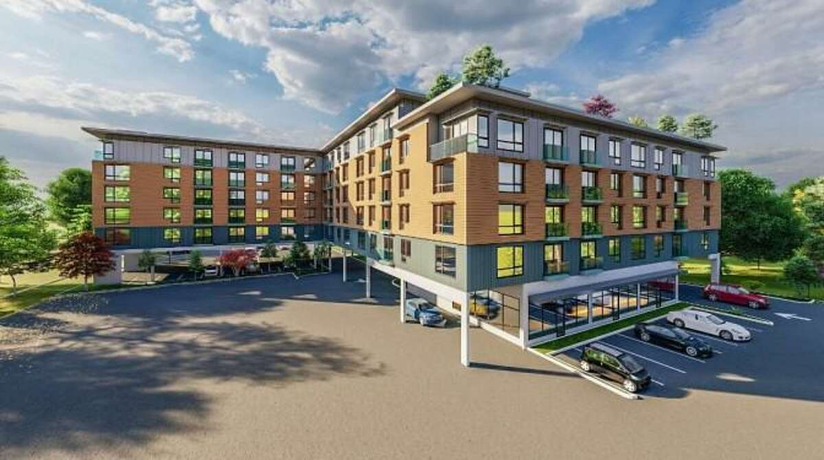 An artist's rendering shows the appearance of an 89-unit residential project proposed for a site on Danbury Road in Wilton.