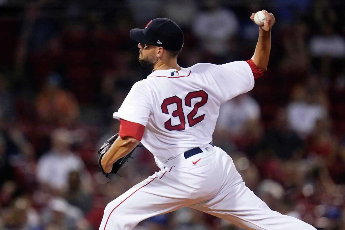 Boston Red Sox relief pitcher Matt Barnes delivers during the ninth inning of the team's baseball game against the Kansas City Royals at Fenway Park, Tuesday, June 29, 2021, in Boston. The Red Sox won 7-6. (AP Photo/Charles Krupa)