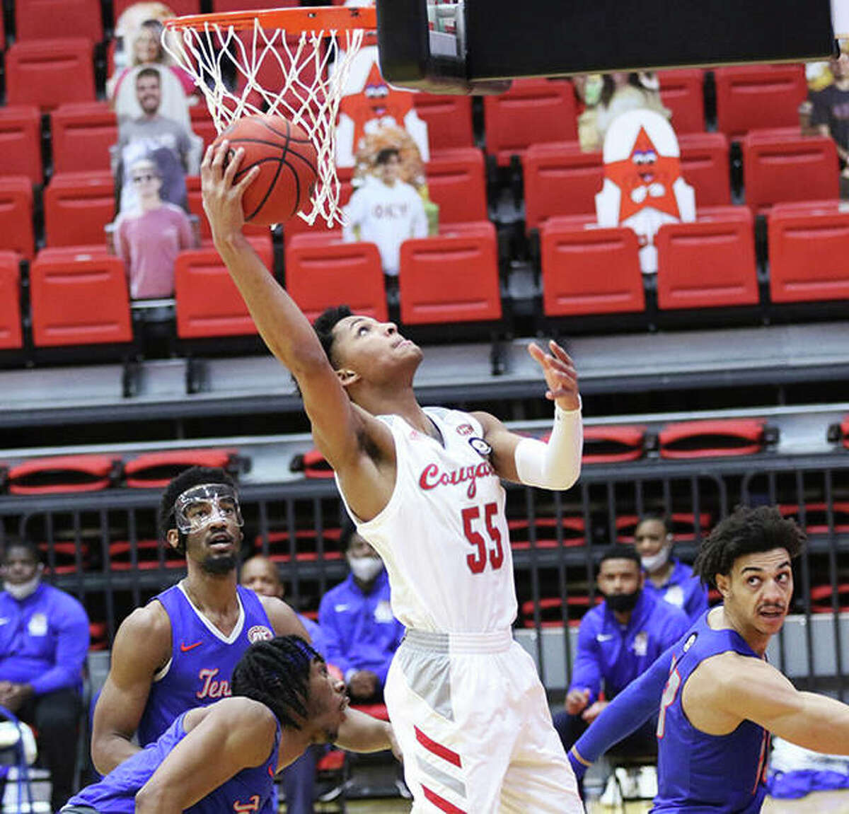 SIUE's Lamar Wright (55) goes up to score in a game against Tennessee State last season at First Community Arena in Edwardsville.