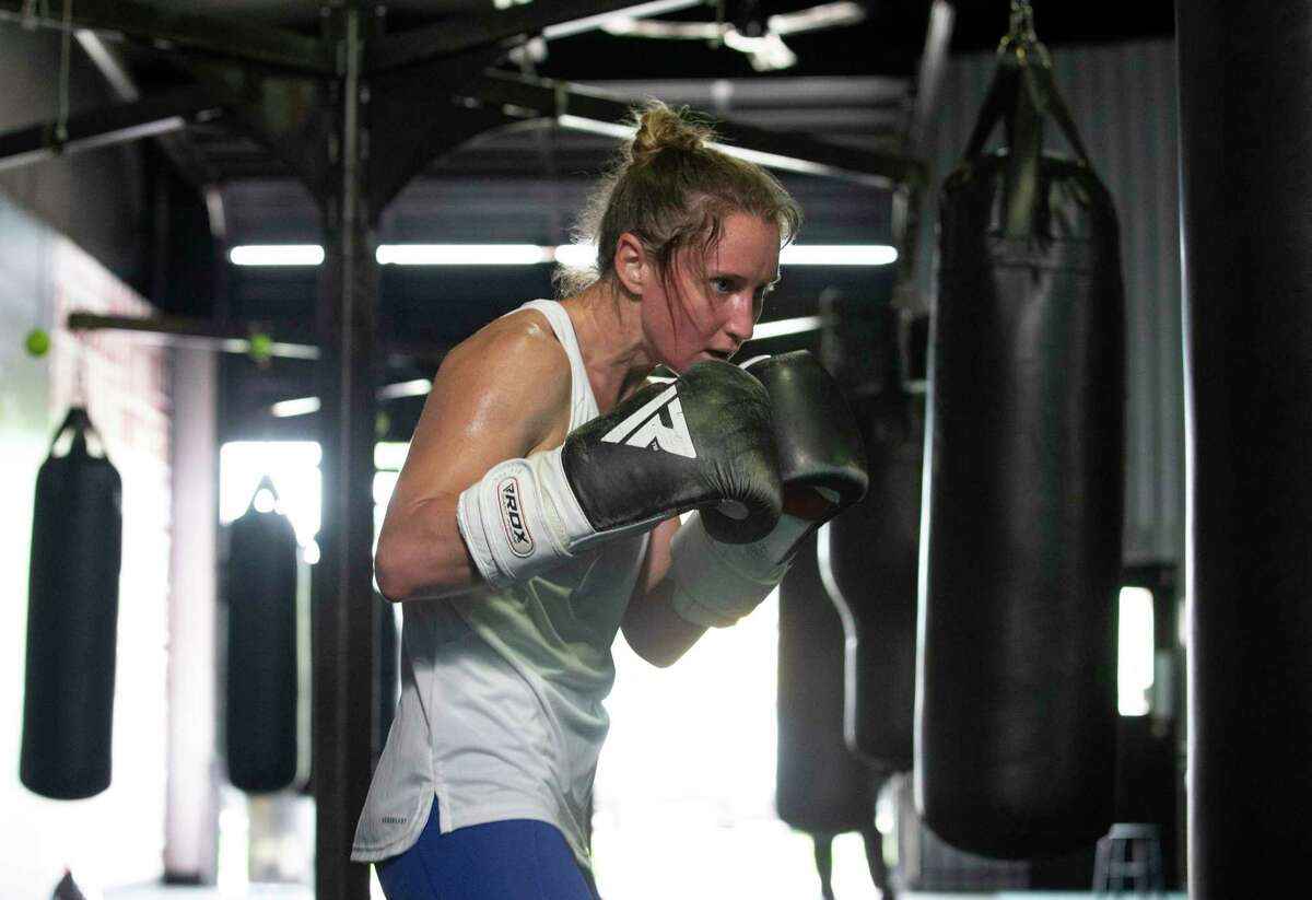 Olympic boxer Ginny Fuchs is photographed in final Houston-area workout before heading to final prep for Tokyo Olympics Saturday, May 29, 2021, at Baby Bull Gym in Houston.