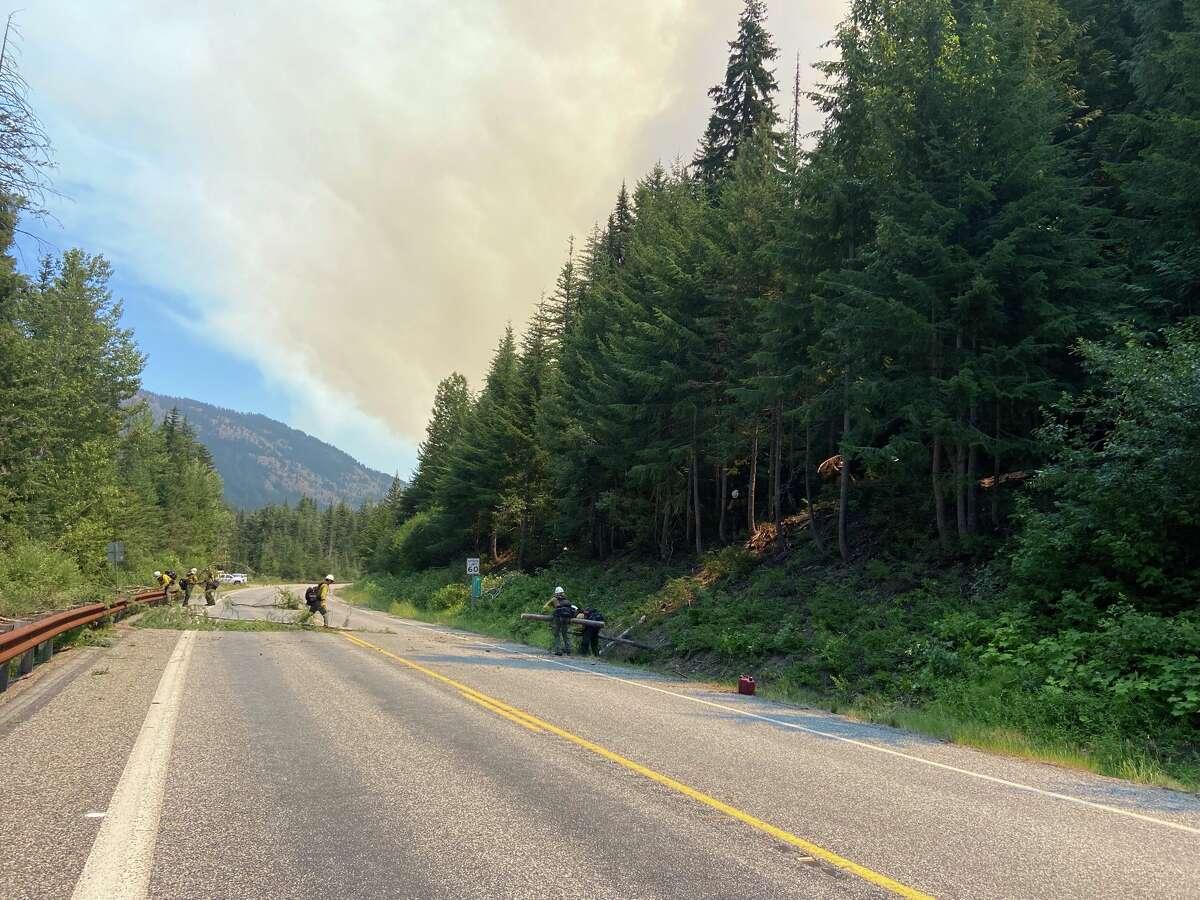 Crews battle wildfire near North Cascades Highway.
