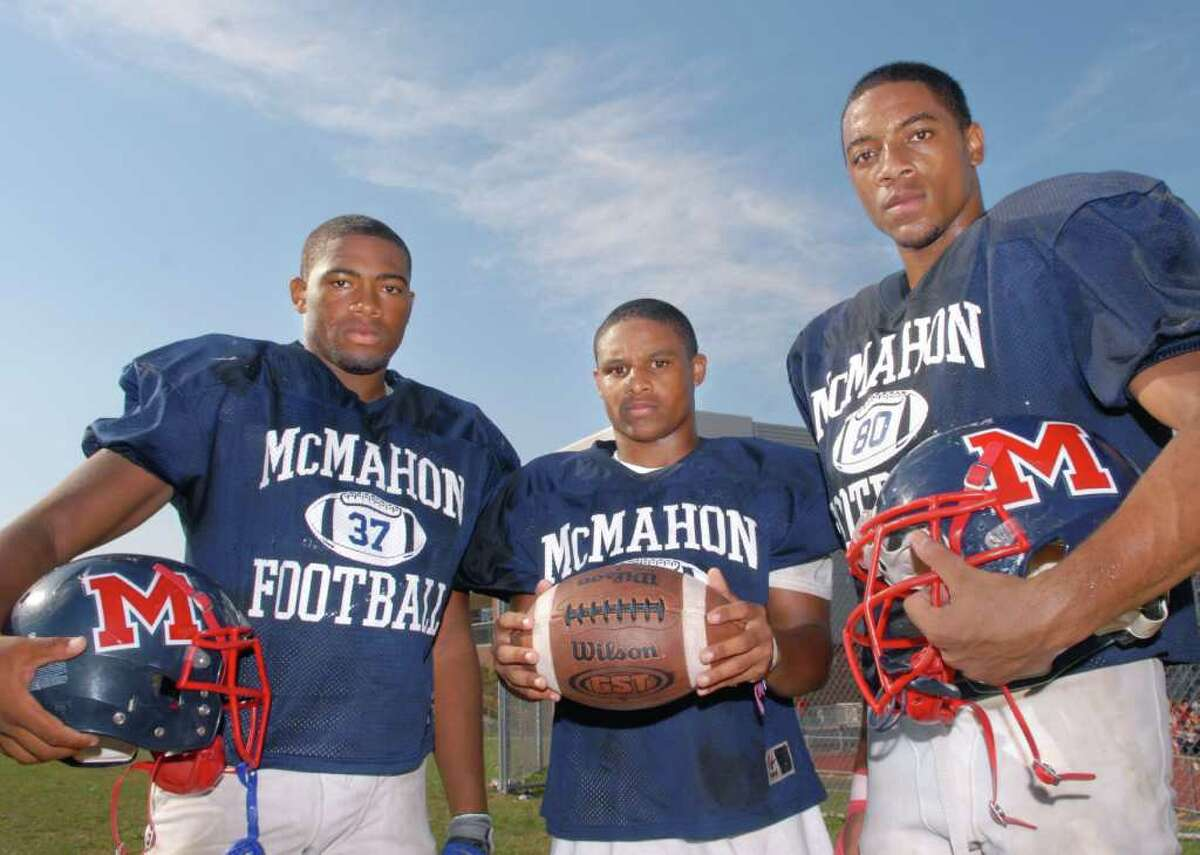 Brien McMahon High School football captains posed at the school left to right, Jermaine Martin-Riley, Ryan Eaton and Chris Daniel, Tuesday, Sept. 7, 2010.